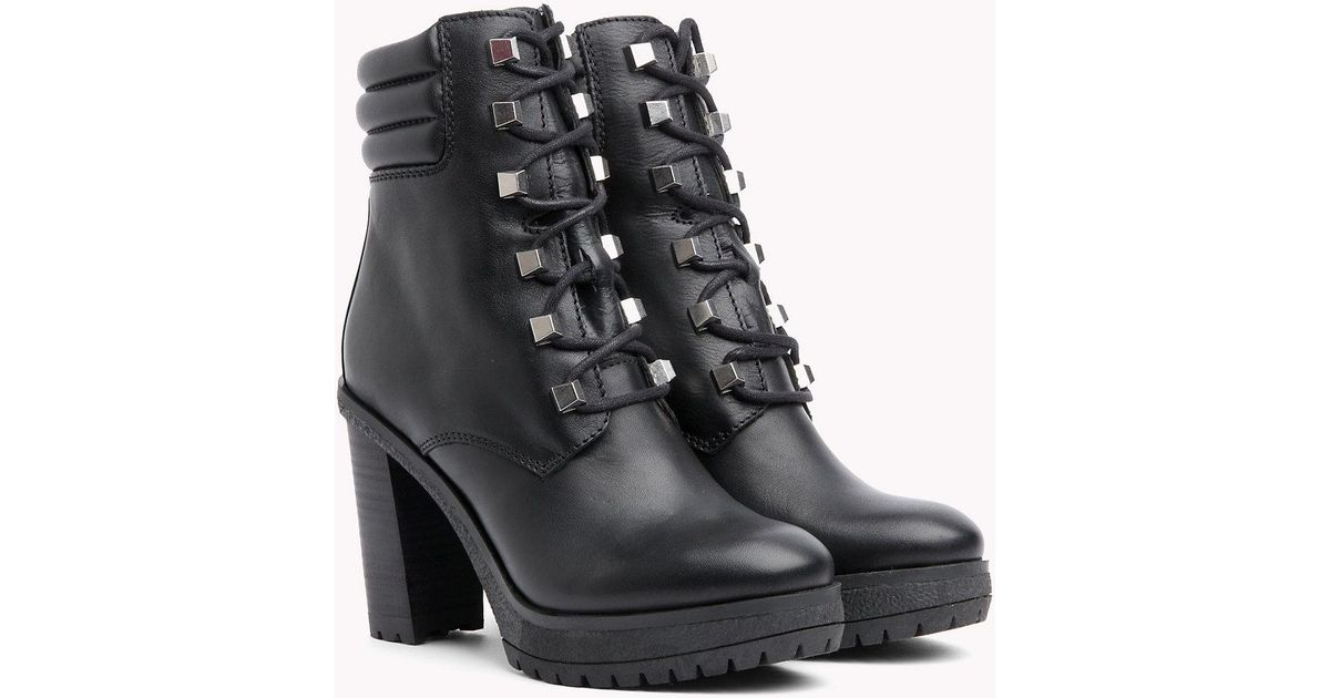 ff912bcf00c15d Tommy Hilfiger Stud Lace-up Heeled Boots in Black - Lyst