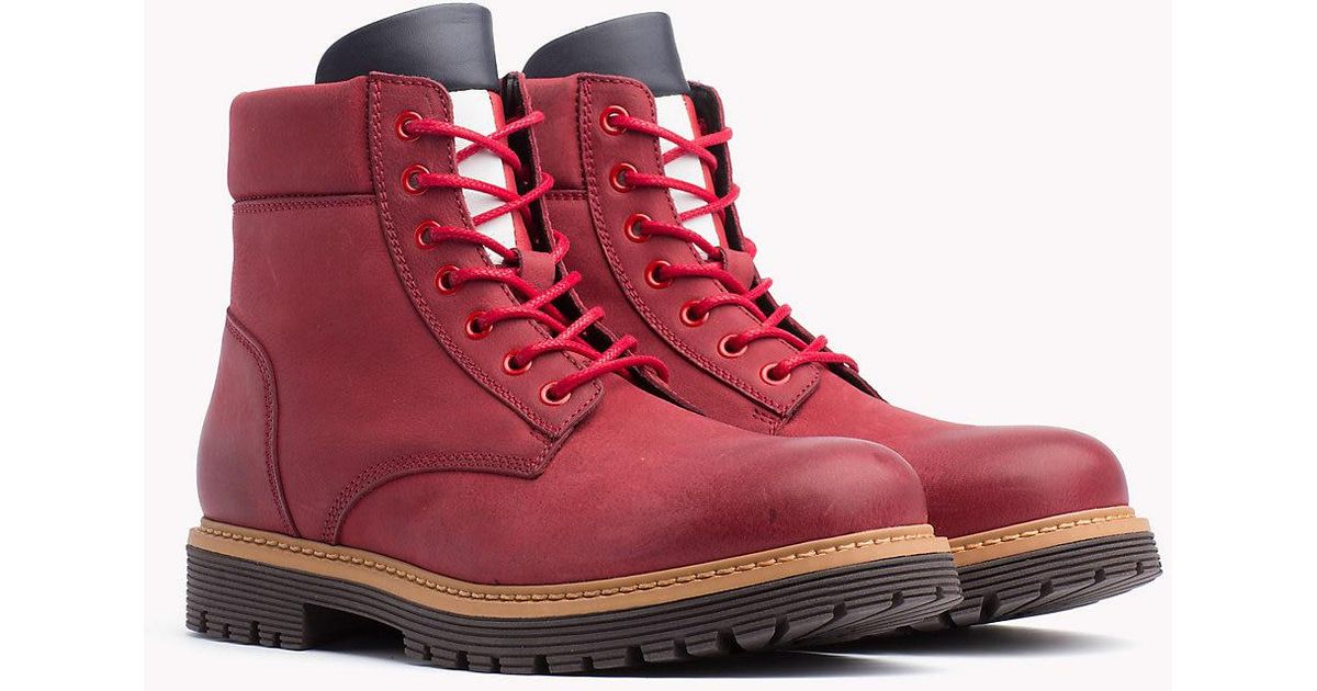 7b013dbee Tommy Hilfiger Nubuck Flag Lace-up Boots in Red for Men - Lyst