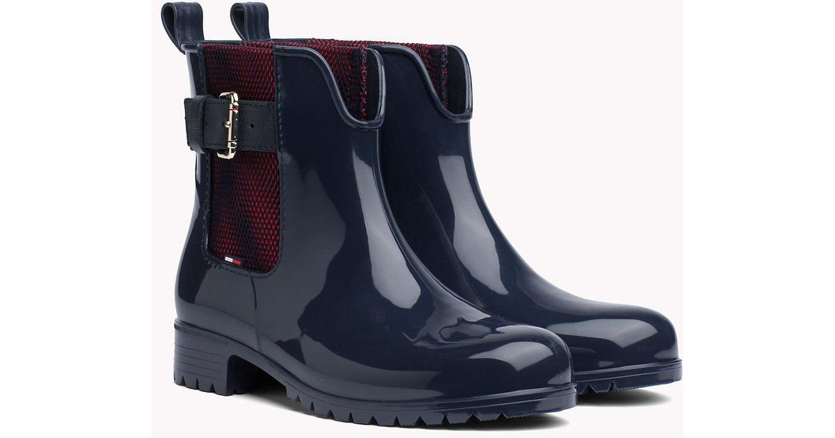 6a9b899c802 Tommy Hilfiger Mesh Panel Ankle Rain Boots in Blue - Lyst