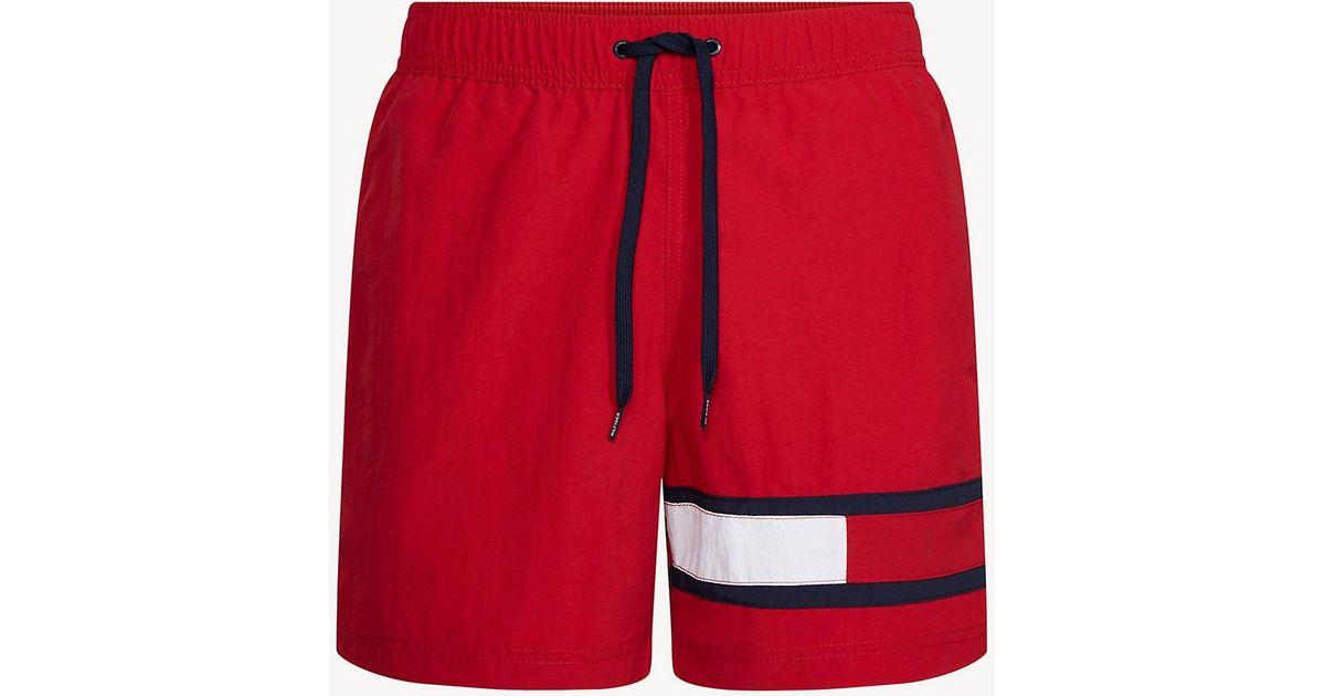 fa913ab7f06f4 Tommy Hilfiger Colour-blocked Flag Medium Swim Shorts in Red for Men - Lyst
