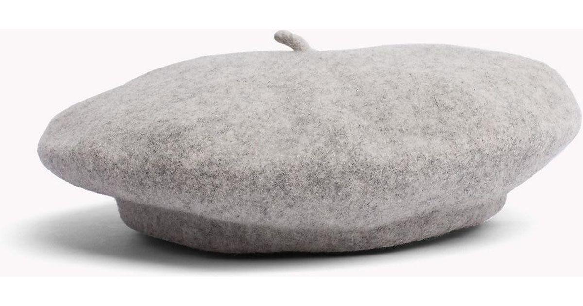 ba90052f Tommy Hilfiger Stripe Wool Beret in Gray - Lyst