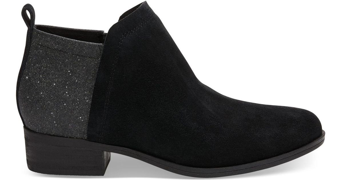 8dd4c90f567 TOMS Black Suede And Glimmer Women s Deia Booties in Black - Lyst