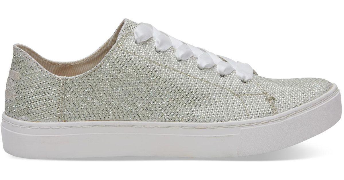 Lyst - TOMS Ivory Glitter Mesh Women s Lenox Sneakers in White d680f03e3