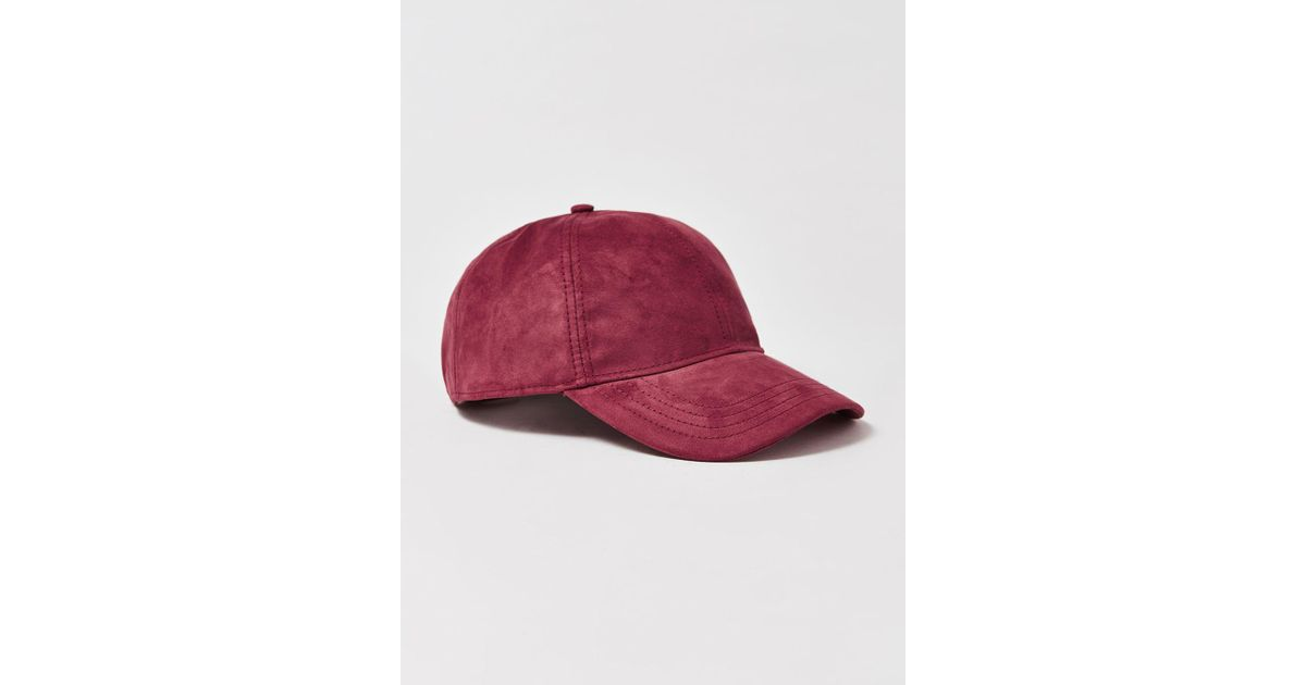 440422c1211 Topman Burgundy Curve Peak Cap in Red for Men - Lyst