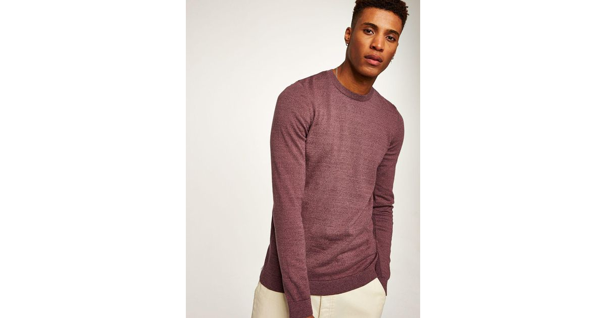 e5b145b690bd Topman Burgundy Twist Side Ribbed Jumper in Red for Men - Lyst