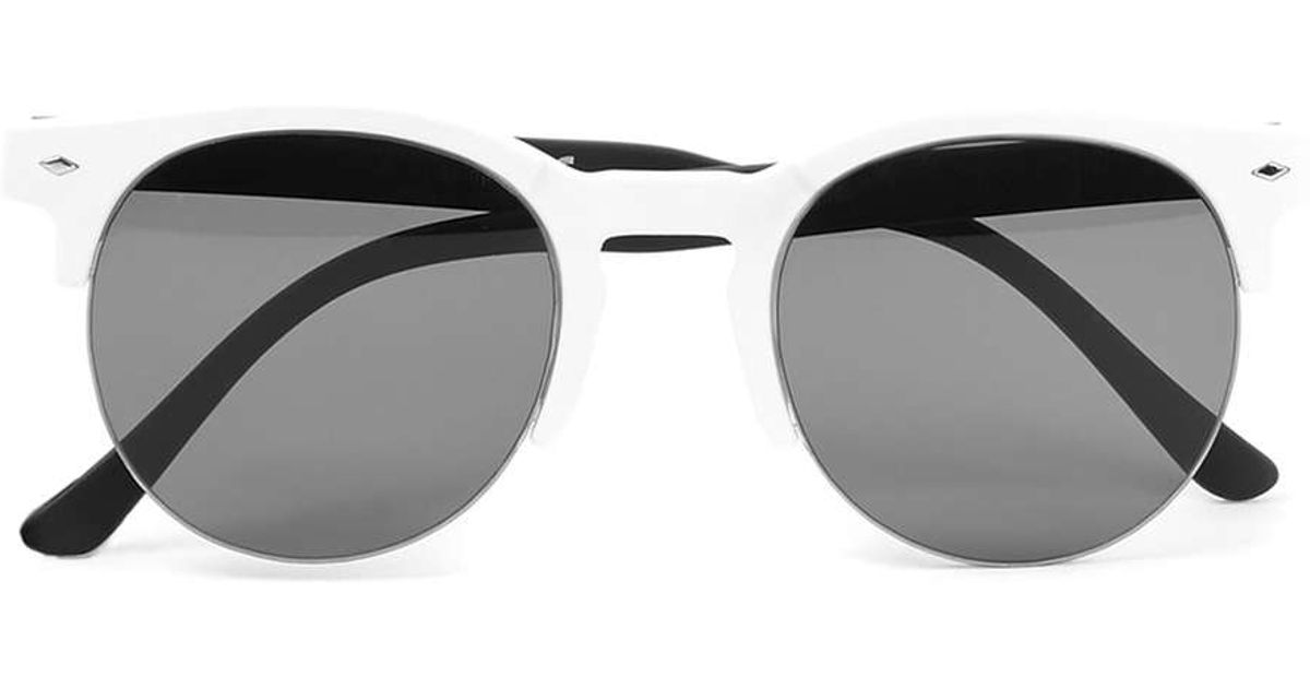 Topman White Plastic Half Frame Sunglasses in Black for ...