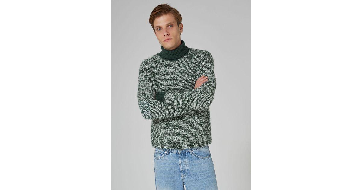In Sweater Neck Lyst Ltd Men Stripe For Boucle Roll Topman Green nx07Bnq4