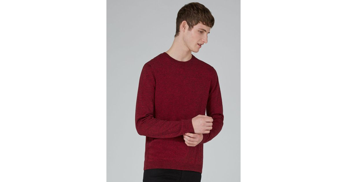 0f7a50d2e0d0 Topman Red And Black Twist Side Ribbed Jumper in Red for Men - Lyst