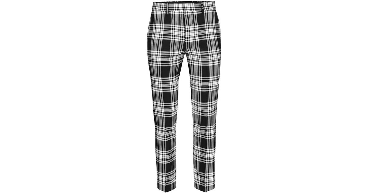Lyst Topman Black And White Check Ultra Skinny Fit Cropped Dress Pants In For Men