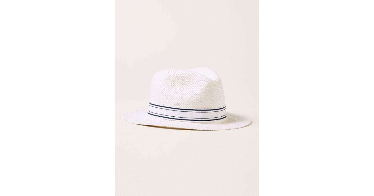 66298cd29e4d4a TOPMAN White Straw Fedora Hat in White for Men - Lyst