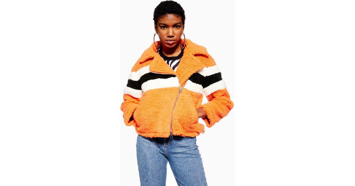 c3ad0fed2 TOPSHOP - Orange Petite Borg Biker Jacket - Lyst