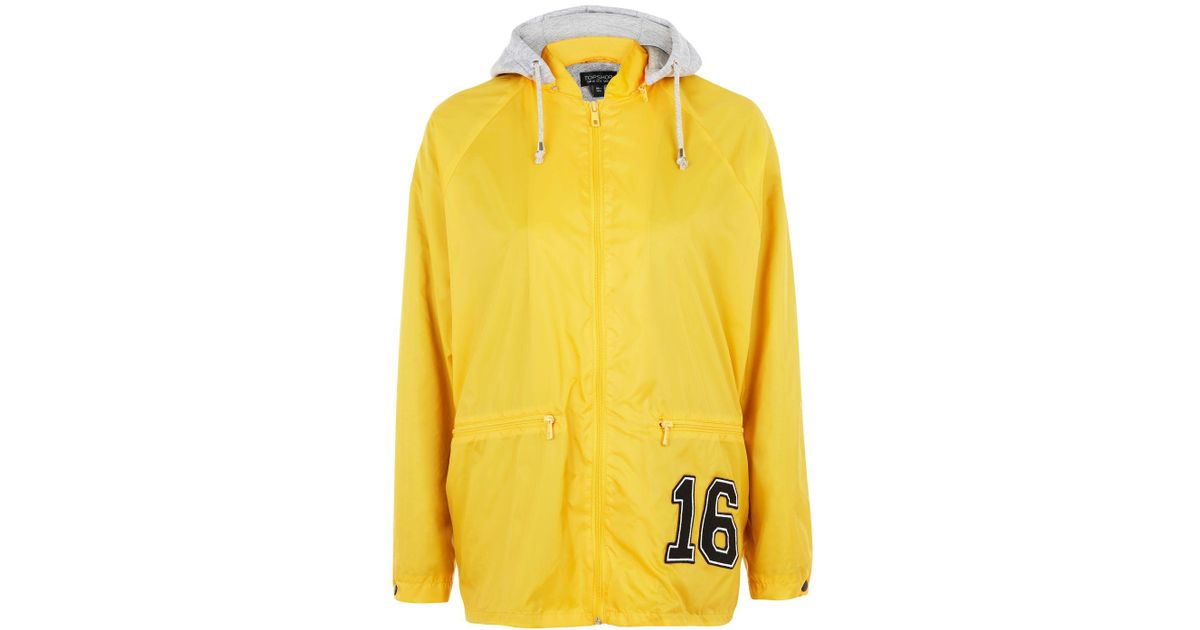 Lyst - Topshop Slogan Hooded Windbreaker Jacket in Yellow