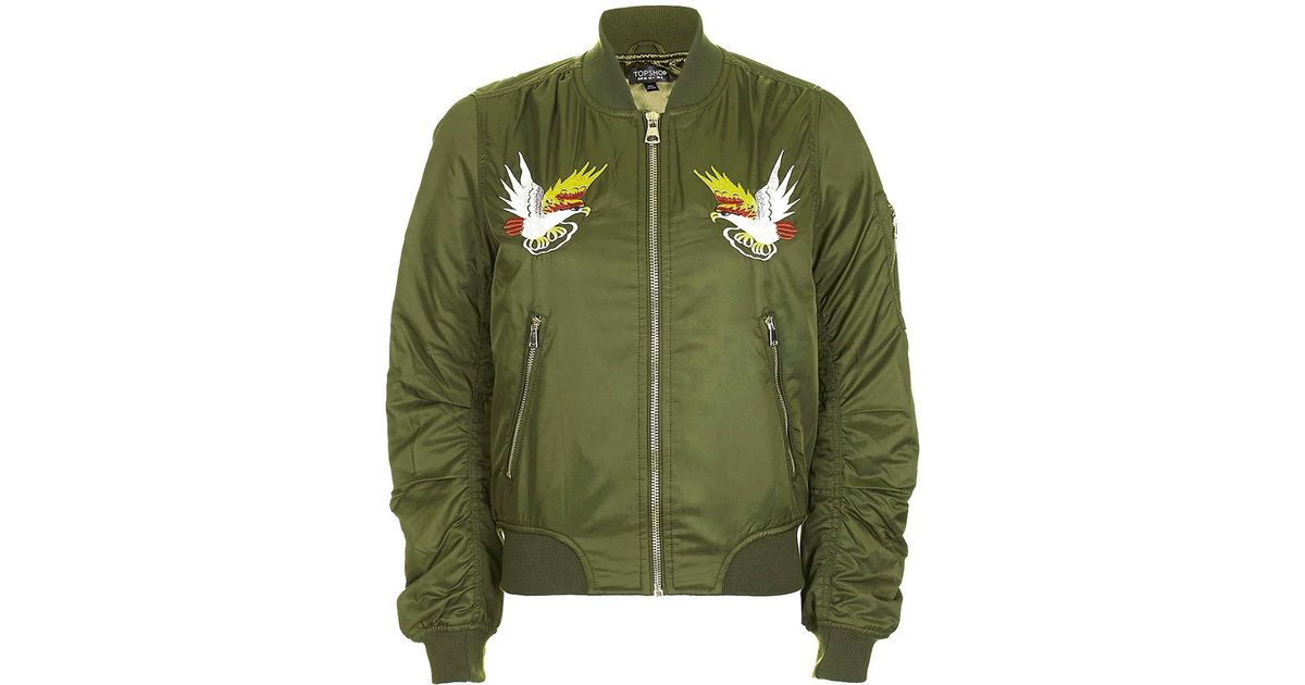 Lyst topshop embroidered ma shell bomber jacket