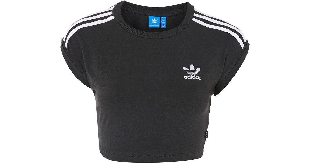 deeb9b5a50 TOPSHOP 3 Stripe Crop Top By Adidas Originals in Black - Lyst