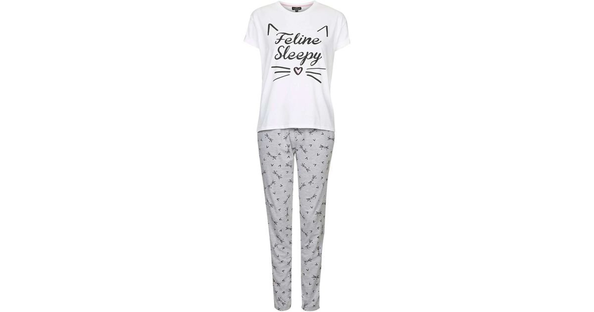 6281adf162 Topshop Petite Feline Sleepy Pyjama Set in Gray - Lyst