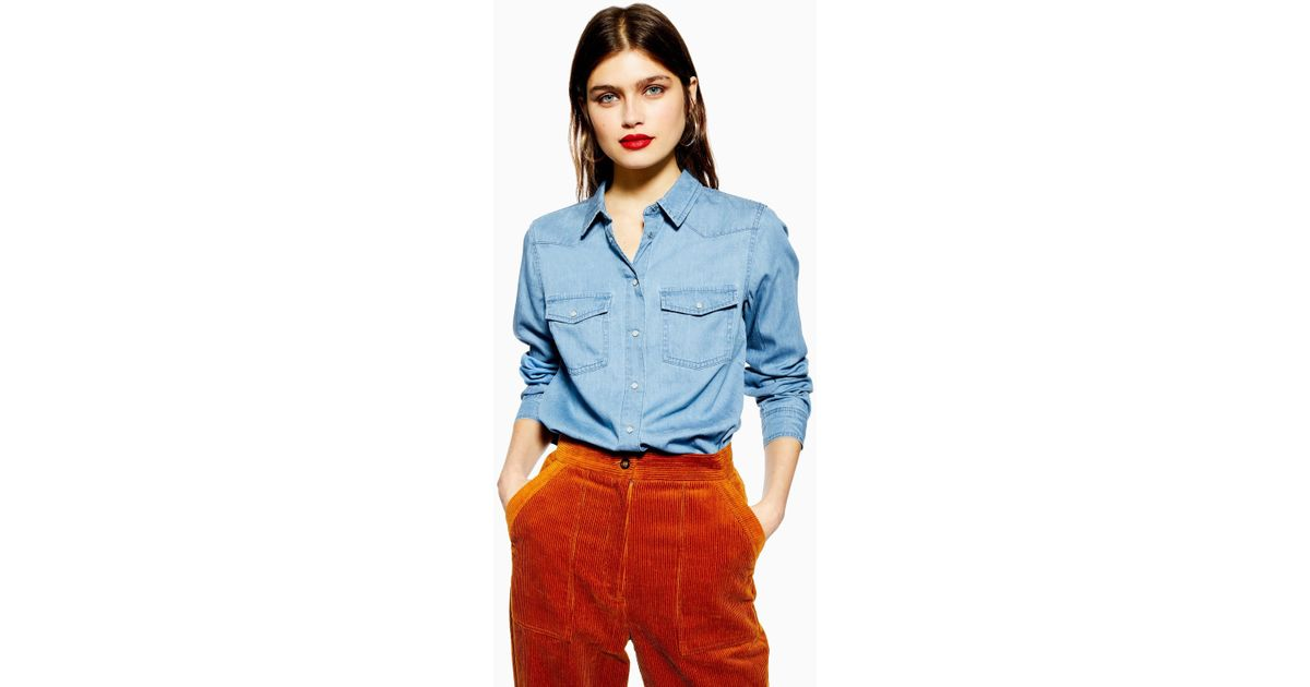 15c91063f92 Lyst - Topshop Fitted Denim Shirt in Blue