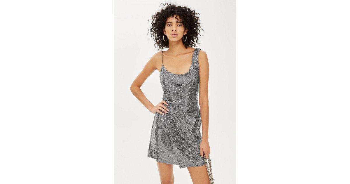 ef70cbef3b6 Lyst - TOPSHOP Drape Sequin Mini Dress in Metallic