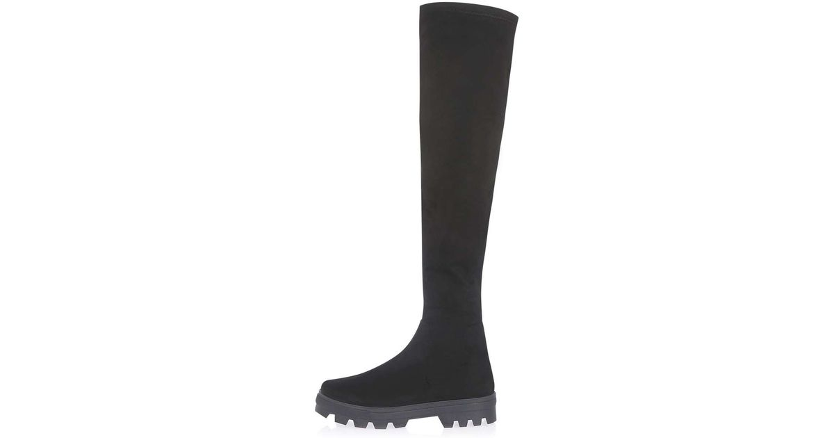 topshop the knee boots in black lyst