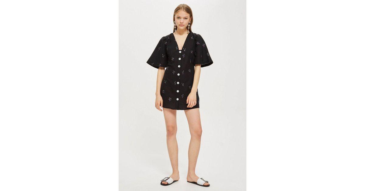 9b12f0b72f60 TOPSHOP Arrow Linen Mini Dress in Black - Lyst