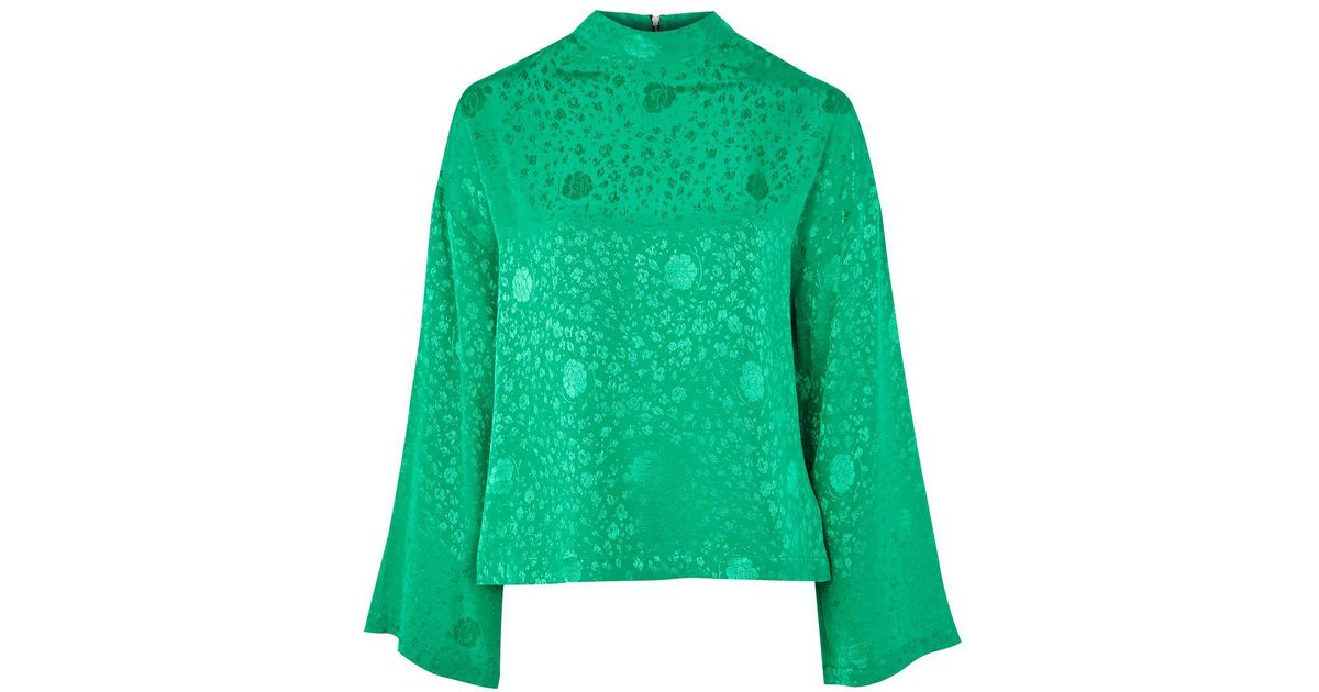 a0d043c1e4c TOPSHOP Jacquard Kimono Sleeve Top in Green - Lyst