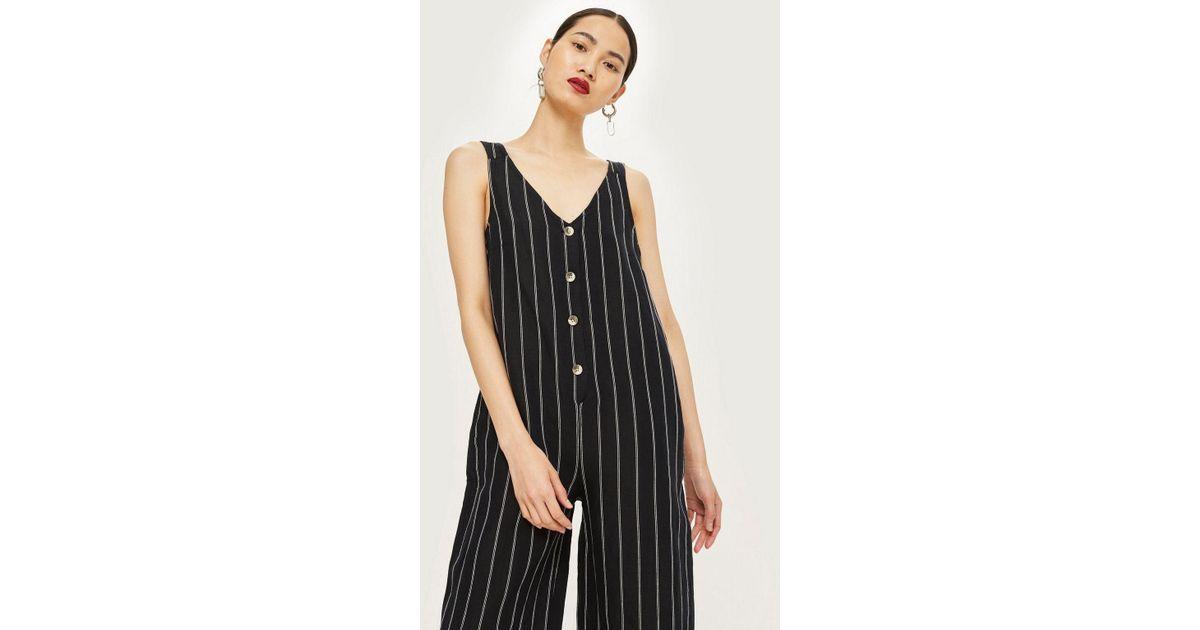 0cb6fa9d04f Lyst - TOPSHOP Petite Stripe Jumpsuit in Black
