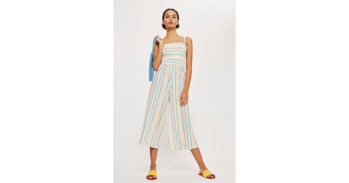 0420ebf70e26 Lyst - TOPSHOP Rainbow Striped Jumpsuit in Blue