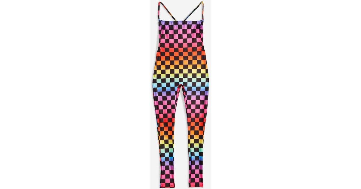 Jaded London Rainbow Checkerboard Jumpsuit By in Red - Lyst 98adc40d6