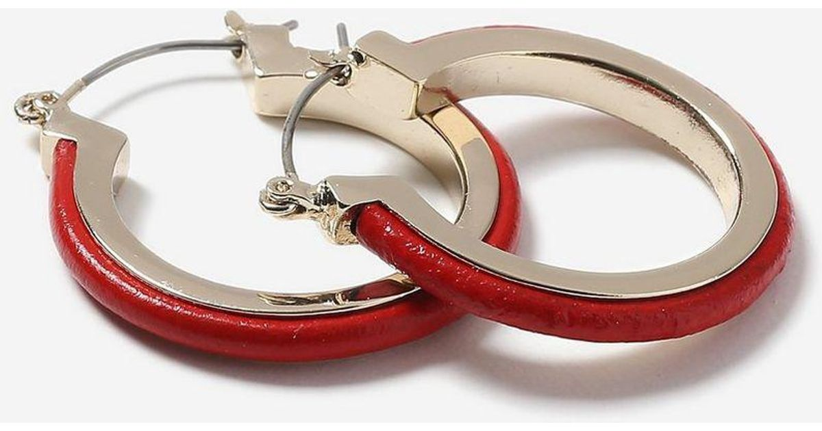 d0ff2f326 Lyst - TOPSHOP Red Inlay Hoop Earrings in Red