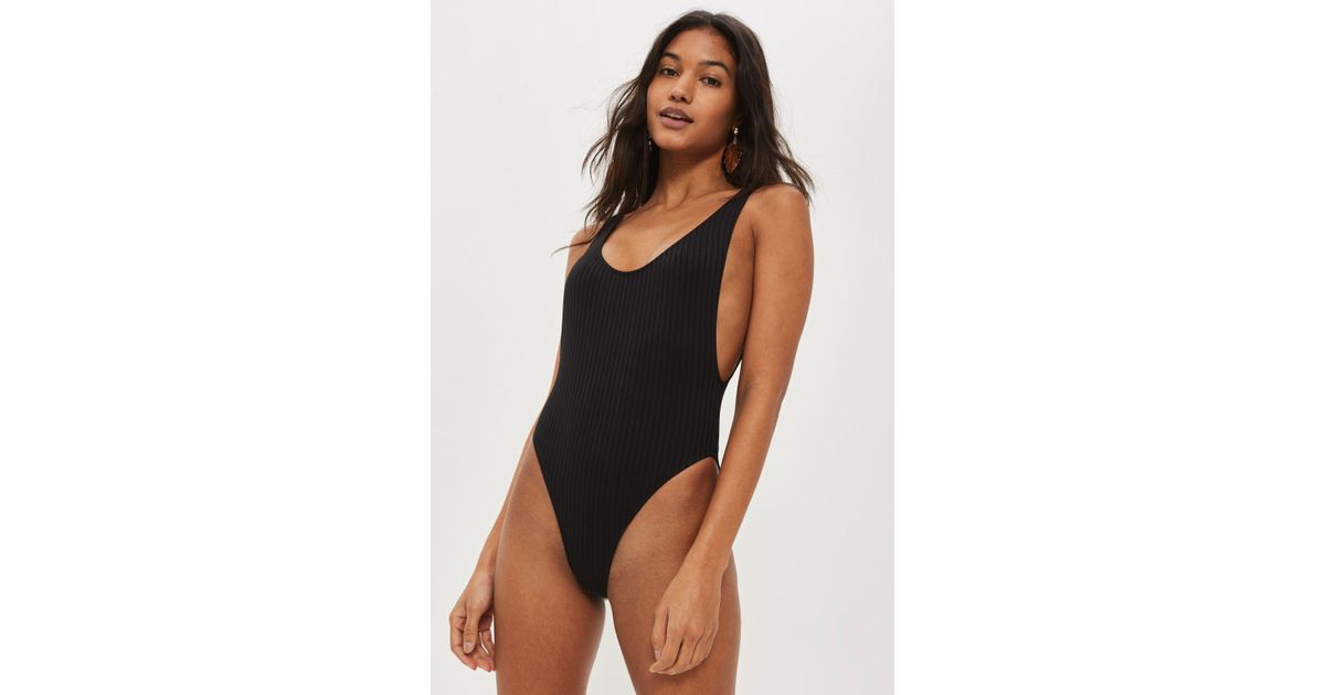 3613c618d2603 TOPSHOP Ribbed Scoop Neck One Piece Swimsuit in Black - Save 80% - Lyst