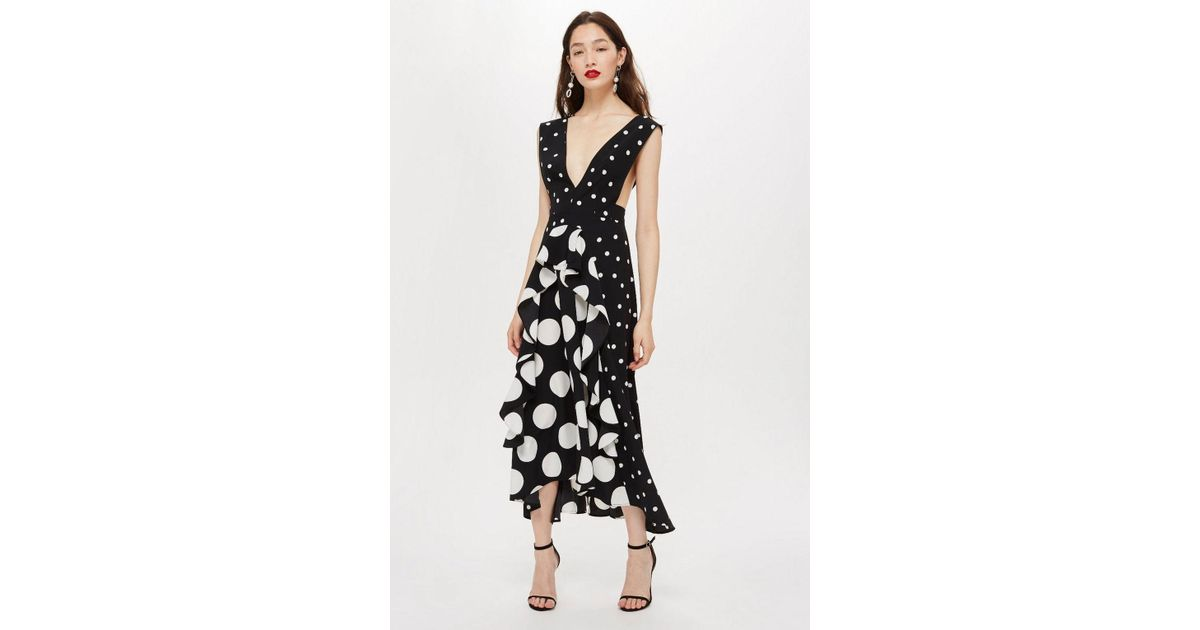 Lyst Topshop Petite Black Spot Pinafore Dress In Black