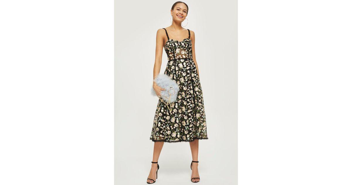 ad74b8f7c221 TOPSHOP Floral Corset Midi Dress in Black - Lyst