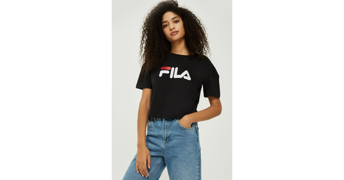 345022a7ab0 Lyst - Fila Exclusive Logo Crop T-shirt By in Black