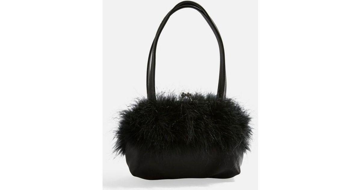 TOPSHOP Birdie Marabou Bag in Black - Lyst 2ac4e201121d4