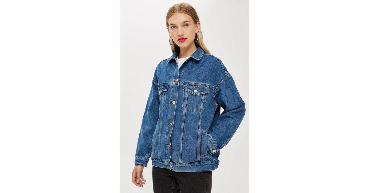7eb4c5ade2e27 TOPSHOP Super Oversized Denim Jacket in Blue - Lyst