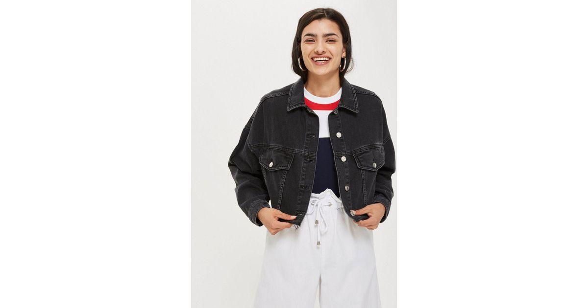 29601055684 Lyst - TOPSHOP Hacked Off Cropped Denim Jacket in Black