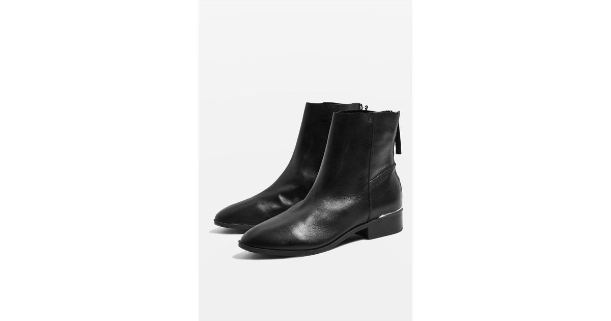 ae912bf33d0 TOPSHOP wide Fit Koko Unlined Flat Leather Boots in Black - Save 49% - Lyst