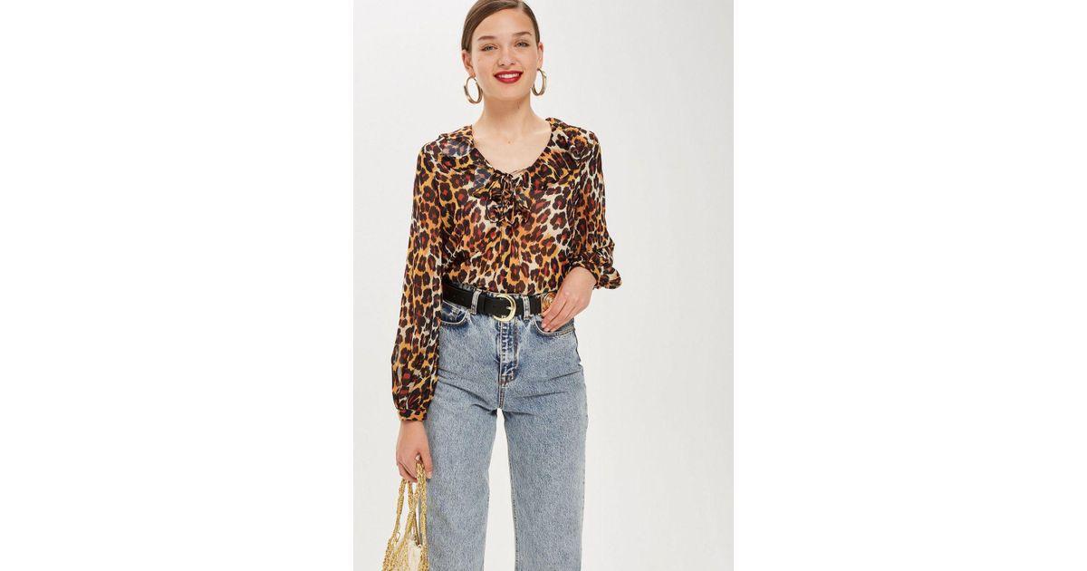 e237c43c45361 Lyst - TOPSHOP Leopard Print Ruffle Blouse