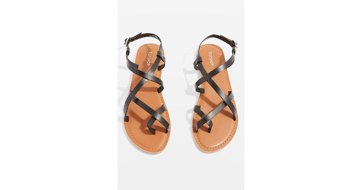 3dcd69afbb0d0b Lyst - TOPSHOP Hiccup Black Strappy Sandals in Black