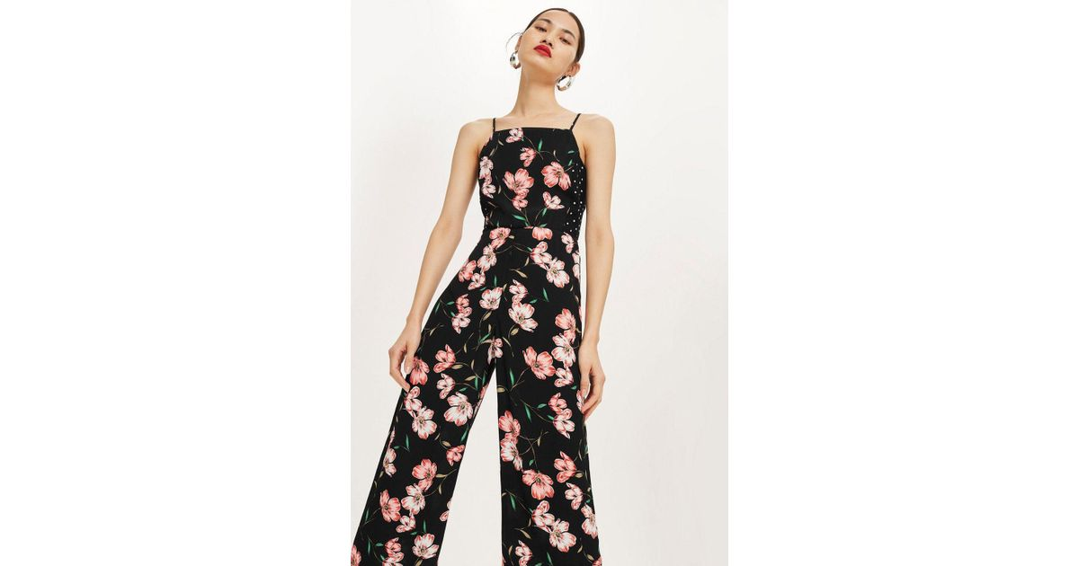 12030786b6b TOPSHOP Floral Spotted Bow Back Jumpsuit in Black - Lyst