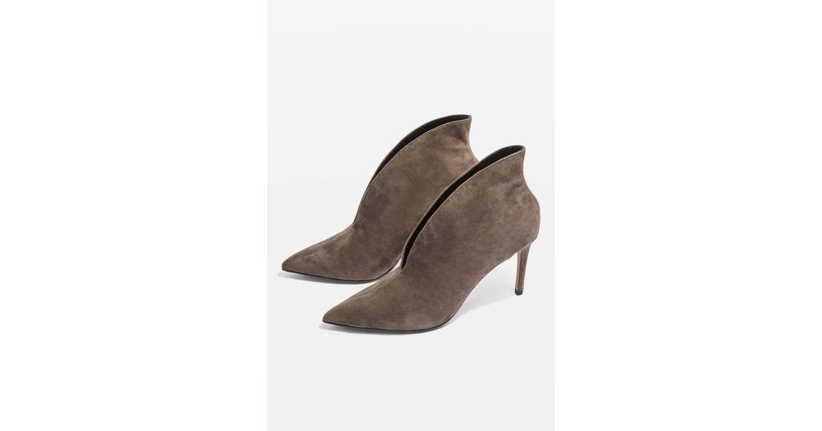 c47e3e86bb7 TOPSHOP Hale Deep Cut Boots in Gray - Lyst