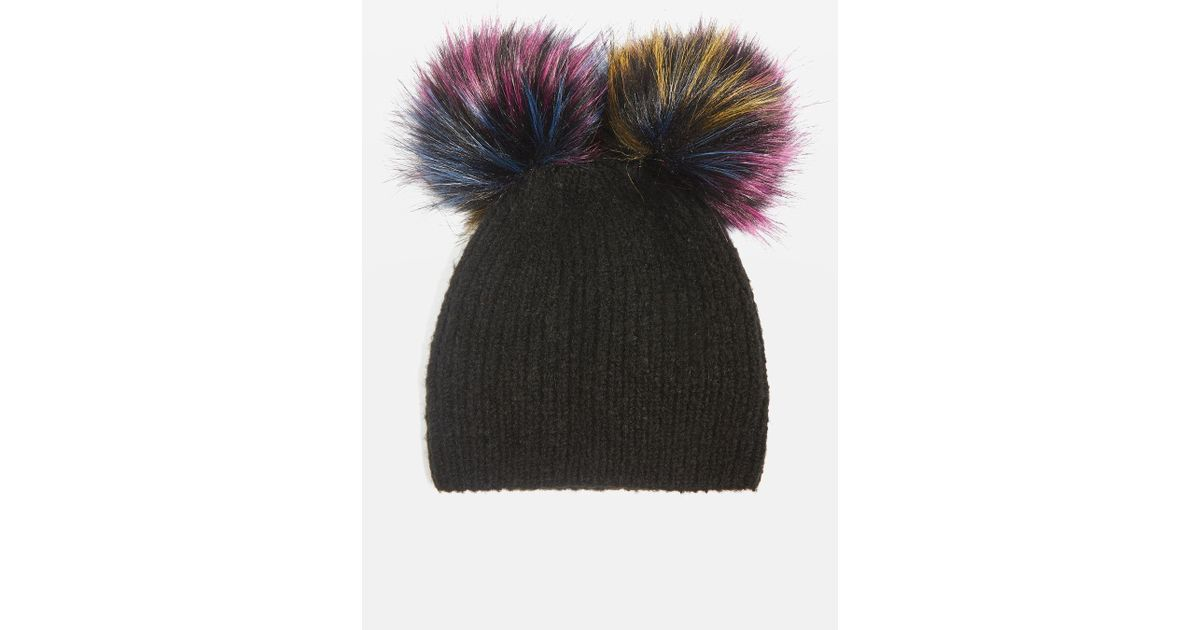 Lyst - Topshop Double Pom Beanie Hat in Black