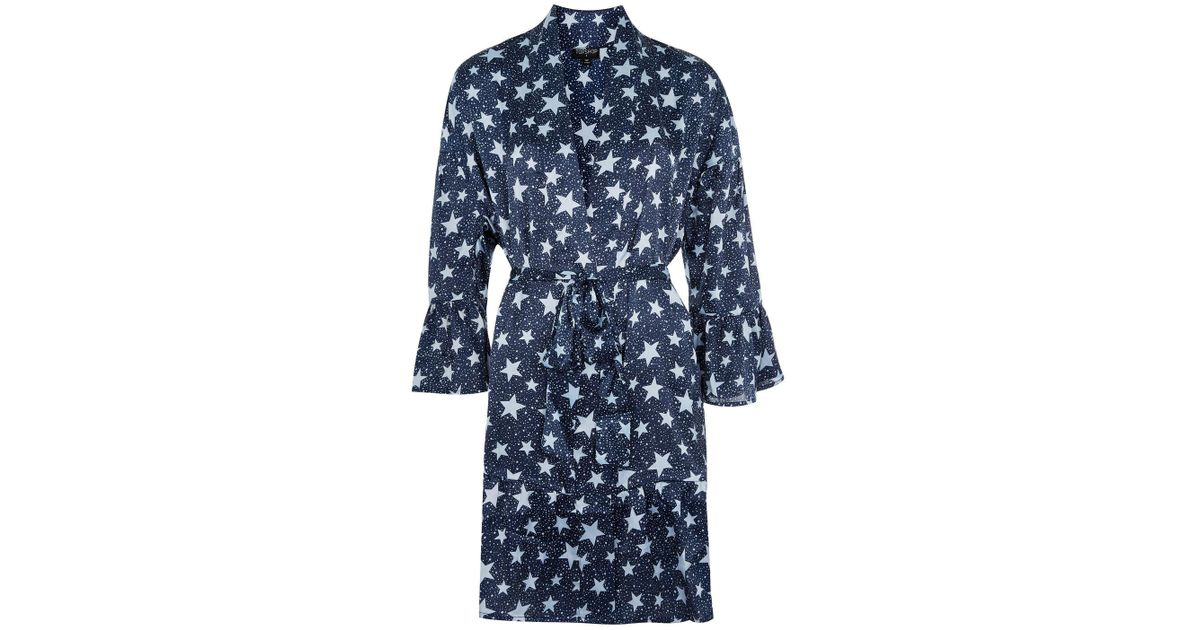 Lyst - Topshop Star Print Satin Dressing Gown in Blue