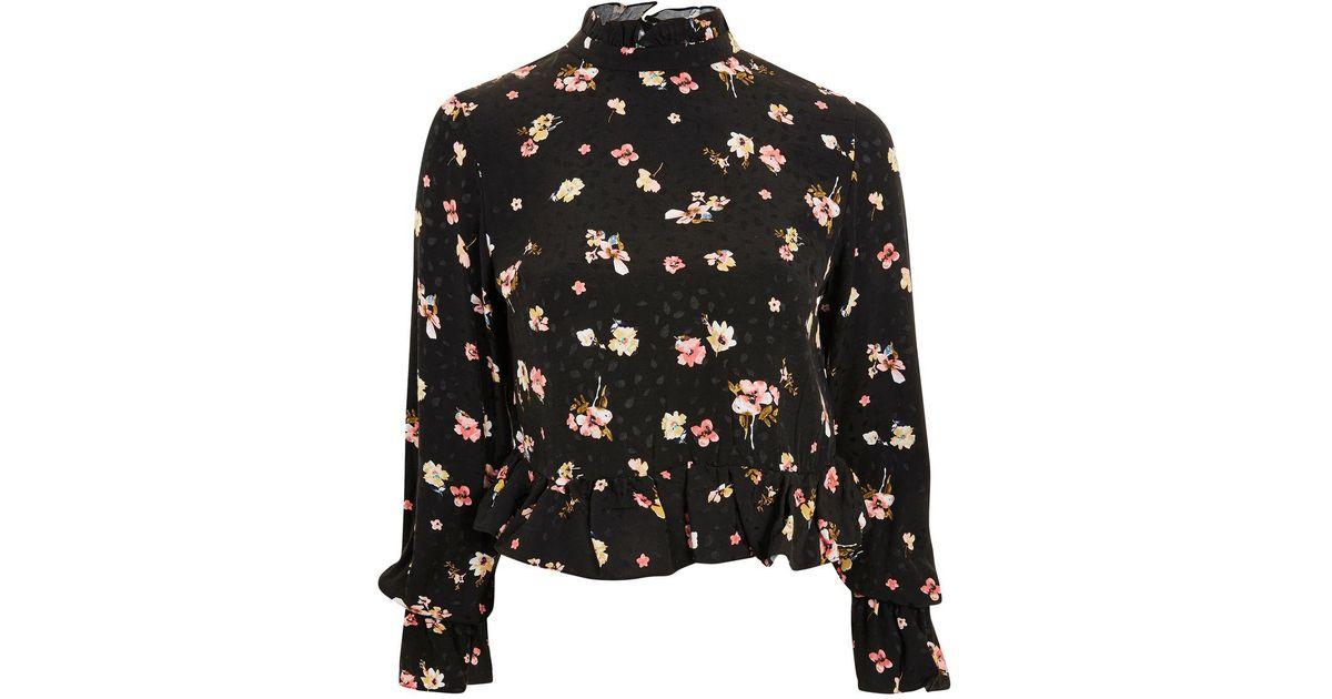 e0962357478414 TOPSHOP Floral Print High Neck Peplum Blouse in Black - Lyst