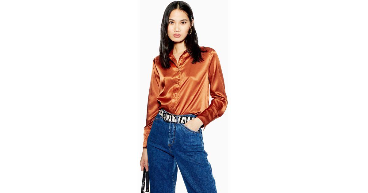 e90b189d669 TOPSHOP Satin Shirt in Orange - Lyst