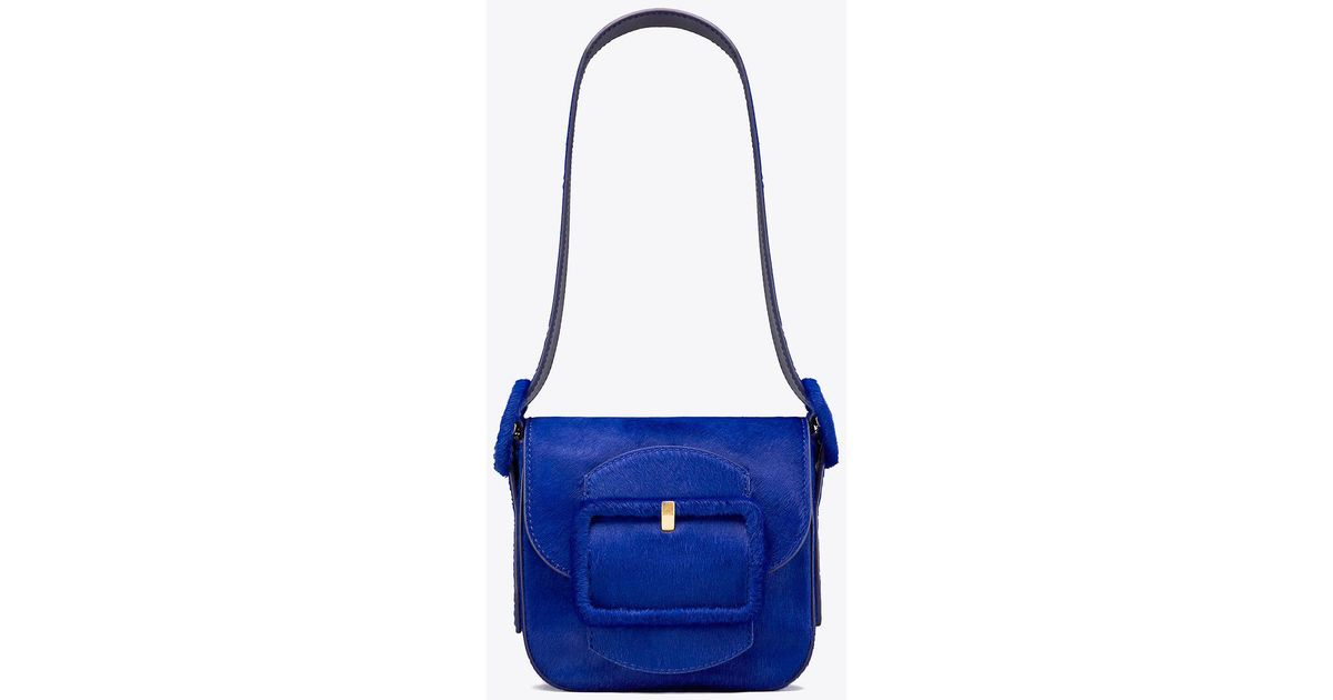 e0f2543ad15f Tory Burch Sawyer Calf Hair Mini Shoulder Bag in Blue - Lyst