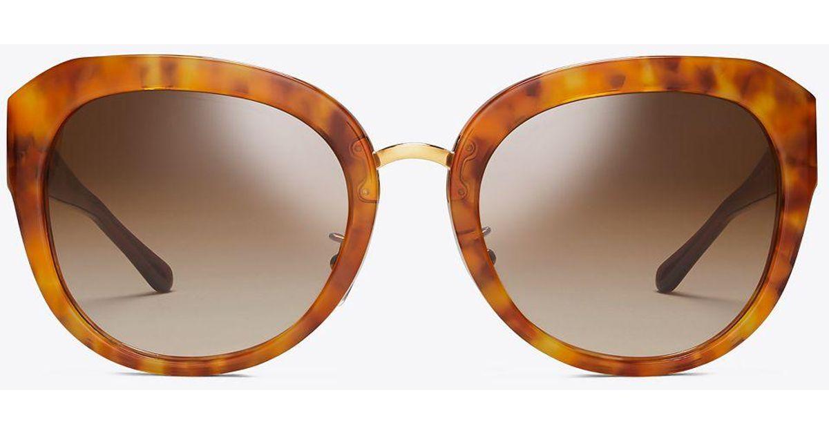 ce28133fdb12 Tory Burch 3 Piece Logo Irregular | 212 | Sunglasses in Brown - Lyst