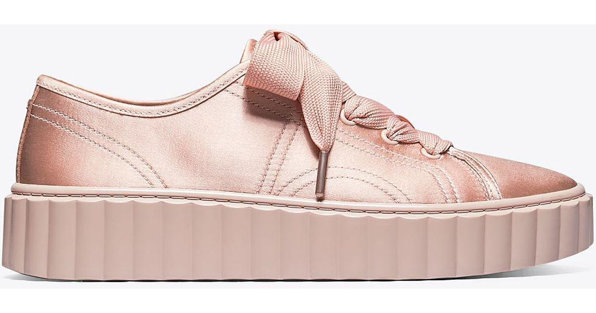 6d1d9d28a1e2 Tory Burch Scallop Satin Sneaker in Pink - Lyst