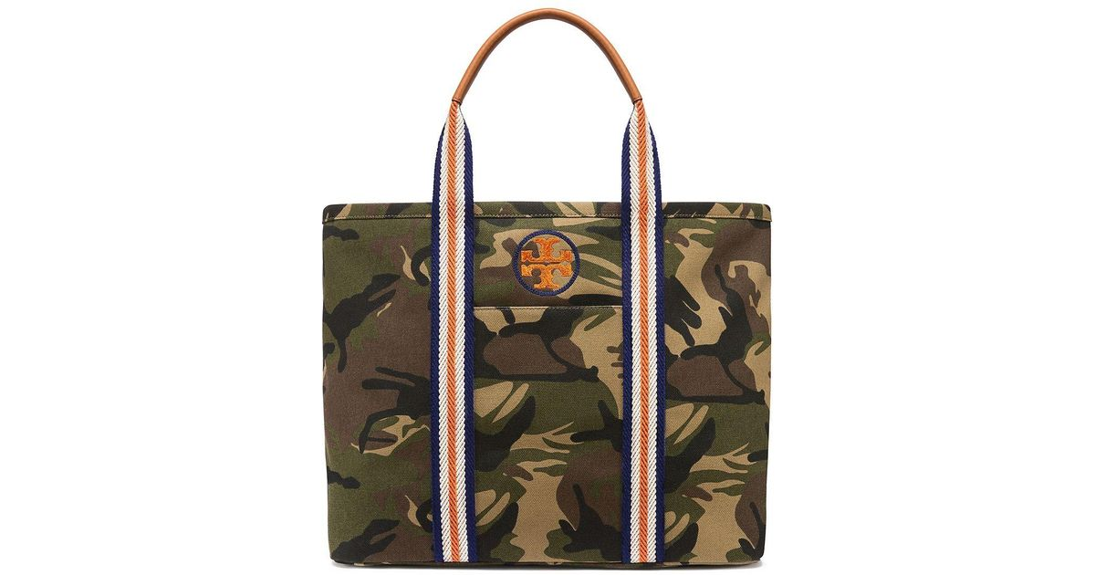 2dbc5c670f Tory Burch Embroidered-T Camo Large Tote Bag - Lyst