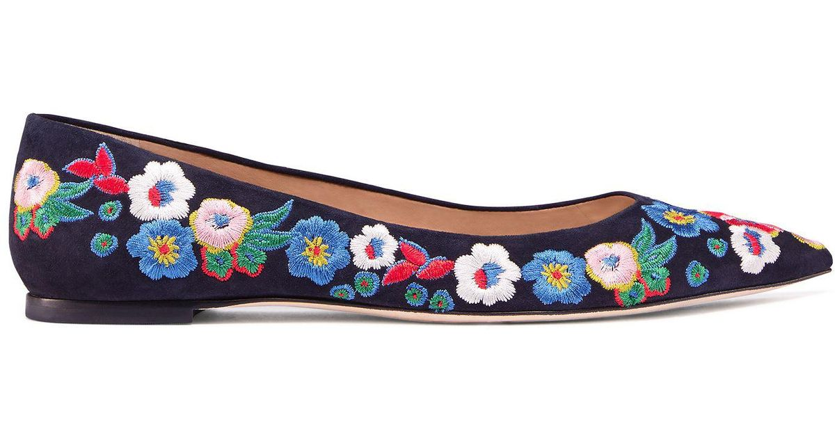 a5407b579bd7 Lyst - Tory Burch Rosemont Embroidered Ballet Flat in Blue
