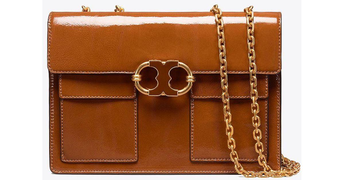 d1010dbd64b31 Lyst - Tory Burch Gemini Link Patent Medium Chain Shoulder Bag in Brown